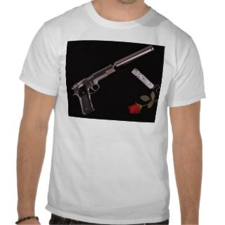 Smith & Wesson .45 caliber and red rose Tshirt