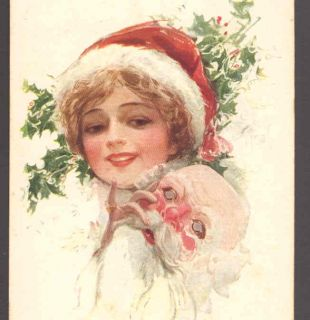 Miss Santa Claus Harrison Fisher Glamour Girl Postcard