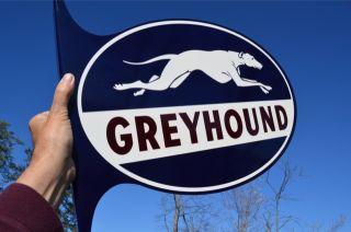 OLD STYLE 24 GREYHOUND DOG BUS LINES TRAVEL DIE CUT FLANGE SIGN NOS