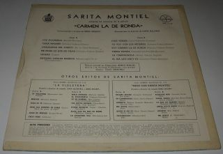 Sarita Montiel Carmen La de Ronda Mexican LP Sexy Cover Sara Female