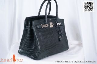 Hermes Birkin Bag 35cm Vert Fonce Matte Crocodile Porosus 2DIE