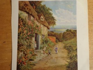 Original 1930 Signed D. Sherrin lithograph print Roses Bloom Around