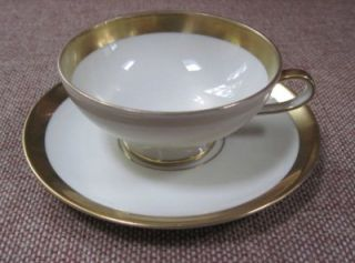 Hertel Jacob Bavaria Gold Trimmed Demitasse Cup and Saucer