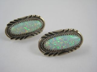 Navajo Harry H Spencer Sterling Silver Lab Opal Stamped Earrings 1 1 8