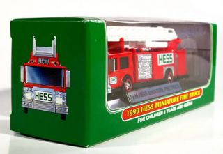 Hess Miniature Fire Engine Ladder Truck 1999 Mint Emergency Vehicle