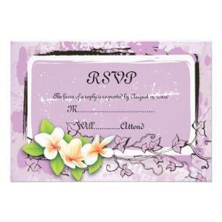 Vintage plumeria ivy purple white wedding RSVP Custom Announcement