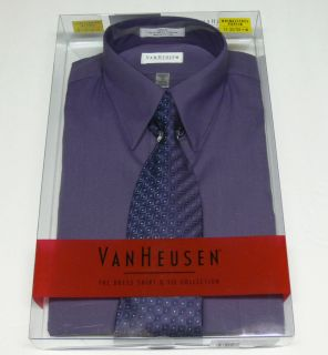 New Van Heusen Mens Shirt Tie Gift Box Set Violet Dress Shirt Size 15