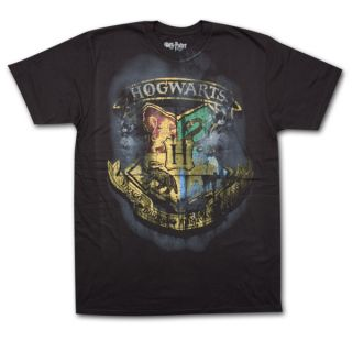 Harry Potter Hogwarts School Crest Black Graphic Tee Shirt