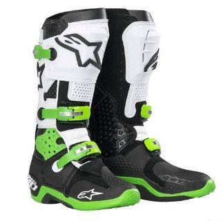 Alpinestars Tech 10 Mens Dirt Bike Motorcycle Boots   Black/Green
