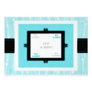 Its A Boy Handsome Blue Baby Shower Invitation