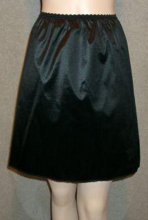 Vtg 60s Henson Kickernick Black Nylon Half Slip Mini 19 Silky