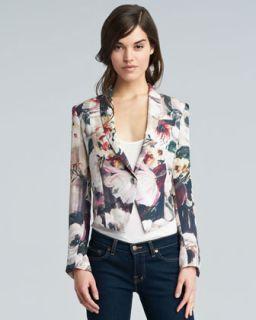 Haute Hippie Floral Print Silk Cropped Blazer