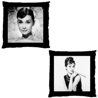 Audrey Hepburn Black White Double Sided Throw Pillow Cushion Cover