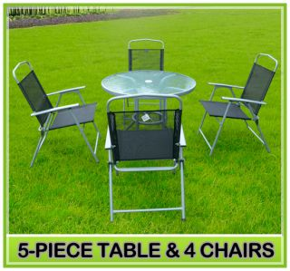 Chairs Round Table Top Set Relaxation Patio Lounge Chairs Black