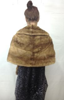 Vtg 60s Autumn Haze Fur Big Collar Plush Drape Wrap Cape Stole Coat