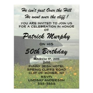 Funny Irish Humor Over The Hill Birthday Party Invitations