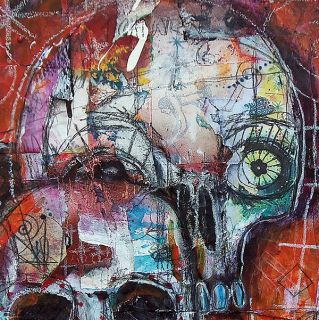 Karen Hickerson Day of The Dead Sugar Skull Painting Abstract Urban