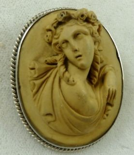 Lovely Victorian Sterling Silver Volcanic Lava Portrait Cameo Brooch