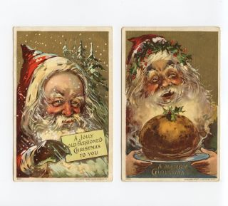 Lot 2 Early Christmas Embossed Postcard Greetings Santa Claus Red Suit