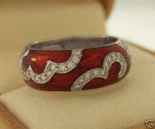 Hidalgo Stackable Red Enamel w Diamonds Ring RR1323R