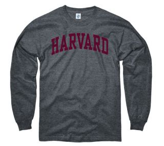 Harvard Crimson Dark Heather Arch Long Sleeve T Shirt