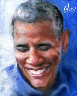 Painting Barack Obama Blue Shirt Smile Portrait Art Artwork Picture