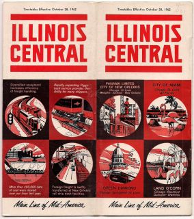 Illinois Central Railroad 1962 Time Table 25 Page Brochure
