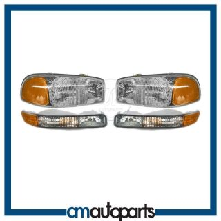 GMC Sierra Truck Yukon Headlights Headlamps Corner Parking Lights Set