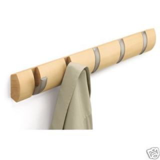 Umbra Flip Coat Wood Rack Wall Mounted Coat Hat Scarf Rack Hanger