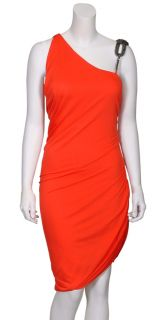 Haute Hippie Vibrant Coral Draped Knit Dress Medium New