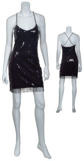 HAUTE HIPPIE Fab Black Sequin Fringe Beaded Party Cocktail Eve Dress