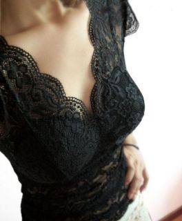 2012 New Womens Sexy V Neck Perspective Lace Inner Vest Tops with