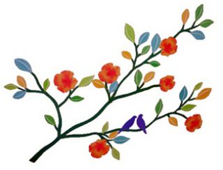 Flower Branch Birds Wall Decal Removable 24 Can Reposition Washable