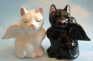 Magnetic Black Cat & White Cat Kitten Angel SALT & PEPPER SHAKERS