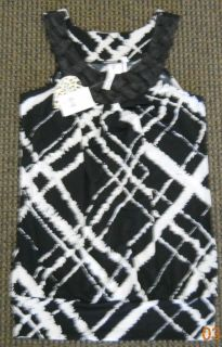 Heart Soul Shirt Tank Black White Woven Neck Fancy Nice Spring Summer