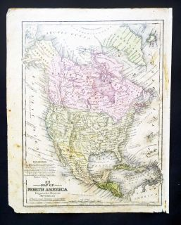 mitchell north america antique color map incl population river length