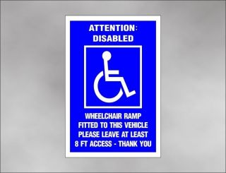 Magneic HANDICAP RAMP 8 foo ACCESS car sign for disabiliy