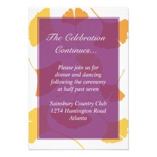 Falling ginkgo leaves purple wedding enclosure custom invites