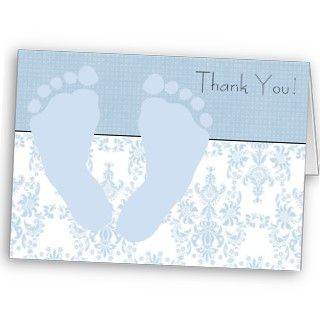 Blue Damask Blue Baby Feet Baby Boy Thank You Card