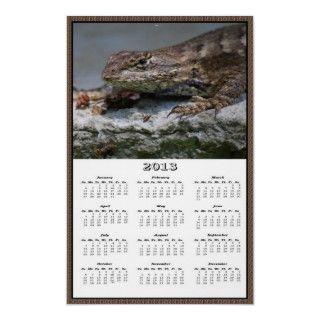 Este calendario del poster de 2013 paredes ofrece un lagarto de cerca