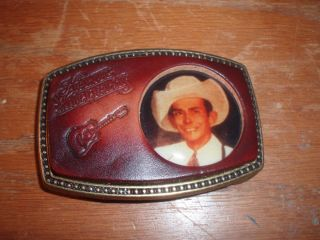 Vtg Hank Williams SR Country Music Farmer Belt Buckle
