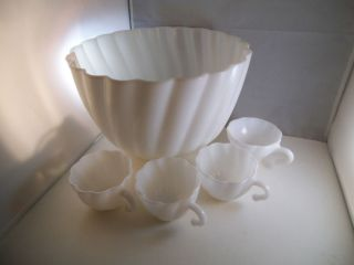 Vintage Hazel Atlas Milk Glass Alpine White Swirl Punch Bowl Four Cups
