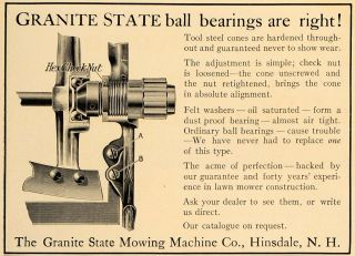 Ad Granite State Mowing Machine Co Hinsdale NH   ORIGINAL ADVERTISING