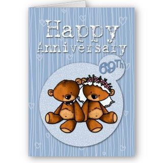 happy anniversary bears   69 year greeting card