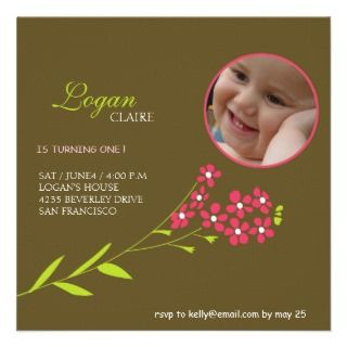 Forget Me Nots  Baby girl Birthday party cards Announcement