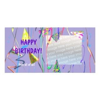Happy Birthday Party Hats Photo Card Template