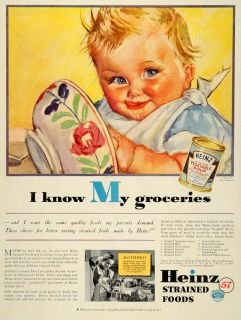 rare by artist on sale vintage art 1936 ad heinz baby strained foods