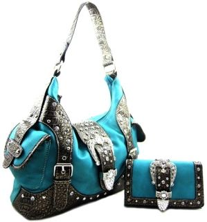 Rhinestone Belt Buckle Stud Hobo Purse Bag Wallet Set Turquoise