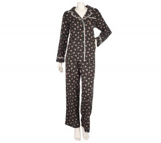 Carole Hochman 2 Piece Printed Button Drawstring Pajama Set Black S