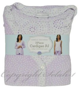 New Carole Hochman 3 PC Tank Shirt Cardigan Pants Pajama PJ Set Purple